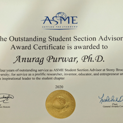 Professor Purwar Receives ASME Outstanding Student Section Advisor Award